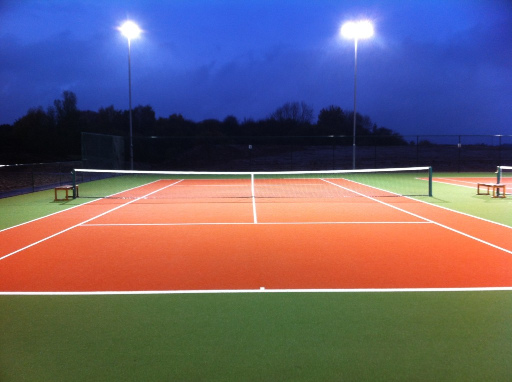The new artificial grass courts under lights!